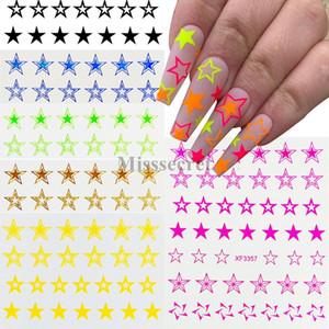 Sıcak Yeni Floresan Hollow Yıldız Nail Art Sticker Beş köşeli yıldız Nail Art Dekorasyon DIY Tırnak accesoires