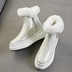 MLJUESE 2020 femmes bottines hiver en cuir de vache en peluche bout rond chaud bottes de neige femme taille de mariage robe de soirée 40