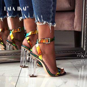 LALA IKAI Sexy Summer Transparent Shoes Women Sandals High Heels Buckle Strap Ladies Party Square Heel Sandalie 014C3427-45