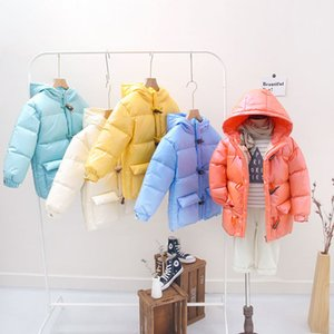 2020 Kids Coat New Children Boys Girls Down Jackets Kids Glossy Thick Coat Solid Color with Hooded Down Coats Kids Clothing