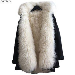 OFTBUY 2020 Jacket Longo Parka Casaco de Inverno das mulheres reais Fur Natural Mongólia Ovinos pele grossa Quente Parkas capa Plus Size Streetwear T200908