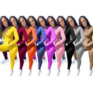 Les femmes Survêtement de jogging Designer Costume 2 manteaux Vestes Piece Pantalons Set sport Casual Solide Couleur Costumes Biker Taille Plus Vêtement