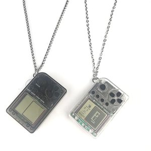 Handheld ABS & Stainless Steel Necklace Game Console Pendant Retro FC Classic Games Tetris Pendant