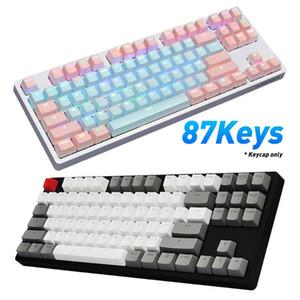 Coincidencia de 87Pcs / Set PBT Color de luz a prueba de nombres de teclas del teclado mecánico de reemplazo adecuada para teclado mecánico