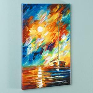 """Léonid Afremov """"Rainbow Sky"""" Accueil Décoration À la main Pays HD Pref imprimer Peinture à l'huile sur Toile Art Art Toile Photos Mural Décor 200918"""