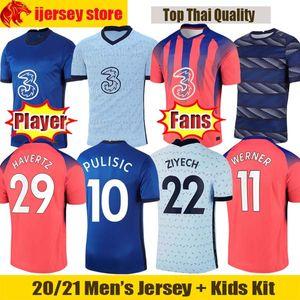 20 21 Chelsea Fußballtrikots WERNER ZIYECH 2020 2021 CHIILWELL ABRAHAM PULISIC Fußballtrikot LAMPARD KANTE HAVERTZ Fans Spieler Version Herren Jersey Kids Kit