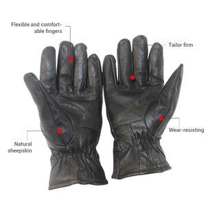 Neuer echter Schaffell-Leder-Motorrad-Männer Motorrad-voller Finger Retro Motocross-Handschuhe Guantes Moto 8PPE