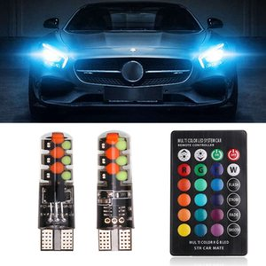 2PCS Car Led Lamp W5W T10 RGB COB 12smd Clearance light Universal Car Colorful Multi Mode LED Bulb With Remote Controller 12V