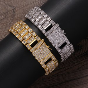 Fashion Men Women Bracelets 18mm 7 8inch Gold Silver Colors Iced Out CZ Bracelet for Friend Jewelry Gift
