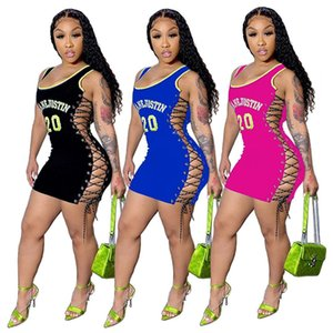 Designers Letter Printed Dress Clothing Nightclub Style Sleeveless Mini Summer Sexy Club Bodycon Short Dress 862