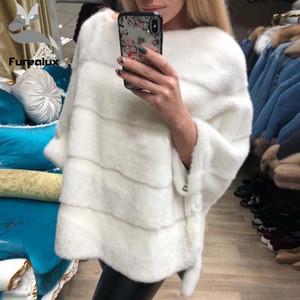 Furealux Lüks Gerçek Coat Kadınlar Kış Bat Sleeve Moda Sıcak Paltolar Yüksek Kalite Bayanlar hakiki Ceket