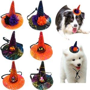 Хэллоуин Домашние животные Hat Черный Оранжевый цветок тыквы Ведьма Собака Кошка Halloween Party Декоративное Hat регулируемый щенок Hat Ornament