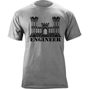 Marca los hombres de la moda de impresión Ingeniero Hombres camiseta de verano US Army Branch Castillo insignias Veteranos Graphic T shirt hombre ocasional
