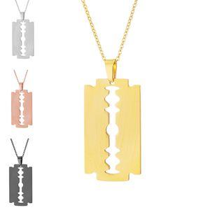 Бритва Ожерелье клинка Подвеска Ожерелье из нержавеющей стали звена цепи цвета золота ожерелье Женщины Мужчины Панк ювелирные подарки