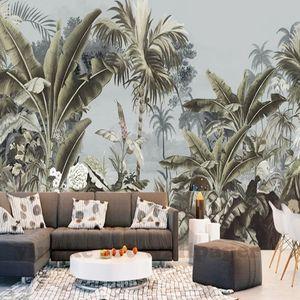 Custom wallpaper European Retro Nostalgic Hand painted Rainforest banana palm sofa TV mural background 3D wallpaper