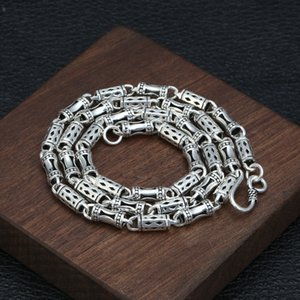 Wholesale S925 Sterling Silver Jewelry Retro Thai Silver Hipsters Wild Chain Male 5mm Thick Section Hollow Bamboo Necklace