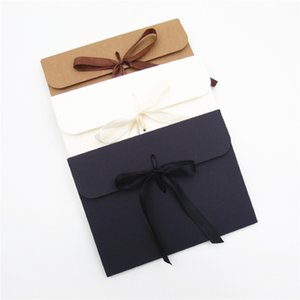 24*18*0.7cm Large Kraft Photo Envelope Postcard Box Packaging Case White Paper Gift Envelope For Silk Scarf with Ribbon Box