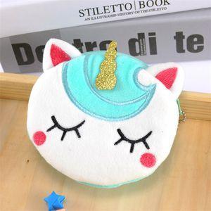 Baby Girls Unicorn Print Wallet Plush Cartoon Kids Purse Fashion Creative Zipper Cute Change Purse Student Children Coin Case Handbags E9803