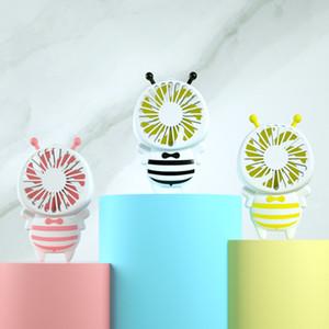 Caliente práctico de carga USB mini ventilador de abeja palanca de carga Ventiladores eléctricos portátiles Thin regalos portátil luminoso Luz Noche Para el hogar Oficina 3 colores