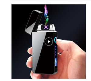 Windproof Dual Arc Lighter Plasma Flameless Rechargeable Electric Lighter for Cigarette Candle with LED Power Display