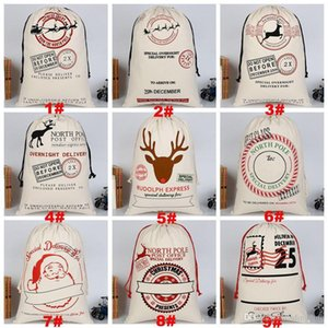 Large Monogrammable Sacks Christmas Canvas Drawstring Santa Reindeers With Canvas Claus Drawstring Santa Xmas Bag Gifts Dh0211 xhhair SOCXN