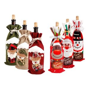 1pcs Christmas Wine Bottle Cover Merry Christmas Decor For Home Snowman Deer Table Decor Xmas Gift