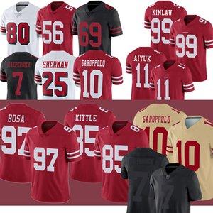 سان فرانسيسكو49ers جيرسيجيرسي جورج دغدغ جيمي غاروبولو براندون Aiyuk ريتشارد شيرمان Javon Kinlaw جو مونتانا لكرة القدم