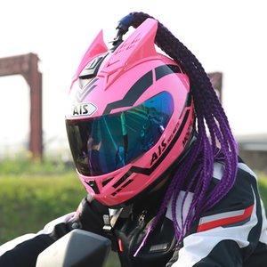 Braided Wigs Motercycle Helmets Racing Helmet Mask for Face Women Mohawk Wigs Human Hair