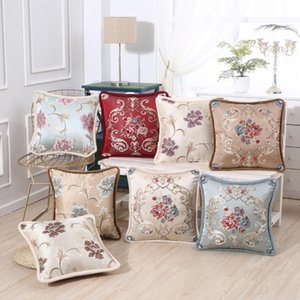 Estilo Europeu fronha Real bordado Rose Peony Flor Pillow Cases Car Seat Sofa Pillow Covers Home Decor Ation Fronhas YL21