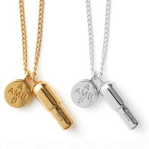 AMBUSH capsule pill 925 pure silver necklace gold pendant male and female net red tide jewelry original gift box