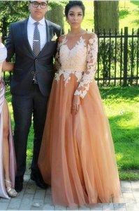 Lace Applique Long Sleeves Prom Dresses with Sash Buttons Back Vestidos De Novia A Line Tulle Bride Evening Dresses Party Gowns L20