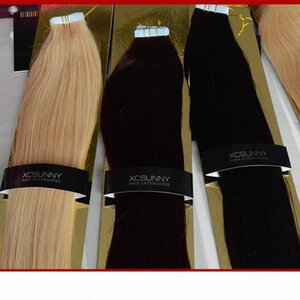 """XCSUNNY Tape In Hair Extensions Remy 40 Pieces Skin Weft Hair Extensions 18""""-24"""" #1B 100g pack Peruvian Remy Tape In Hair Extensio"""