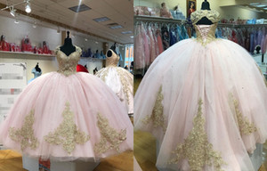 2021 Lastest Designer Pink Tulle Gold Lace Ball Gown Quinceanera Prom Dresses Cap Short Sleeves Applique Keyhole Back Beaded Long Formal