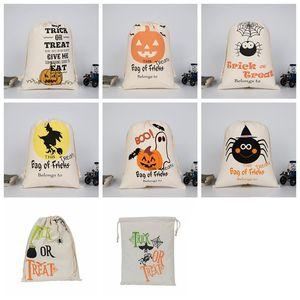 Подарок Halloween Сумка Большой кулиски Холст Сумка Witch тыква мешок мешок Хэллоуин Детских конфеты Карманного фестиваль украшение партия DHE1554