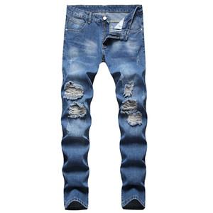 European and American new men's jeans straight leg men's ripped elastic fashion slim high quality denim trousers comfortable pants