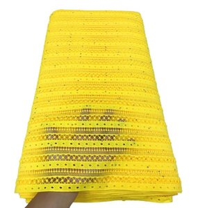 желтый African шнура ткань шнурка с камнями Обметывание отверстия Водорастворимая Lace сухой ткани Нигерийский TS9520