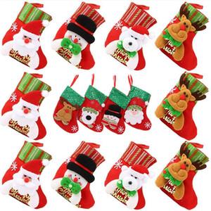 Weihnachtsmann Weihnachtsstrumpf Schneeflocke Elk kleine Weihnachtssocken Karikatur Puppe Weihnachtsbaum dekorative Anhänger Kinder Süßigkeit Geschenkbeutel T9I00543