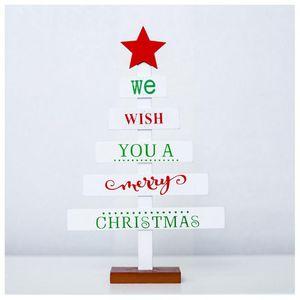 Wooden Mini Christmas Tree Desktop Decoration Merry Christmas Wooden Decoration Desktop 3 Colors Optional House Tools