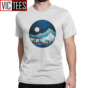 Men's Moon Bay T-Shirt Mand Hiking Tees Night Trees Forest Mountains Nature Cotton Tops Classic Fit T Shirts