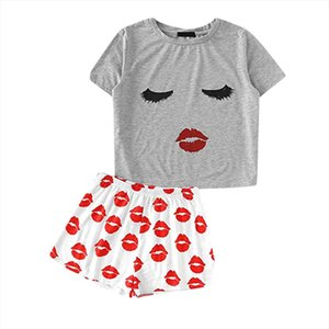 JAYCOSIN 2019 New Summer Women Suit Sexy Casual Long Eyelashes Red Lip Short Sleeve Funny Top Shorts Set Sports Beach 9042510