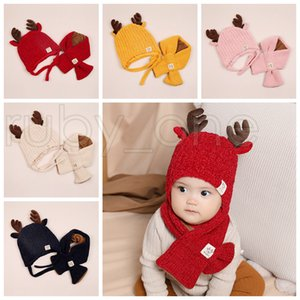 Xmas Baby Knitted Beanie Child Deer Horn Hat Add Wool Scarf 2pcs Kids Outdoor Candy Color Winter Warm Scarf Hat Christmas Party Hats RRA3571