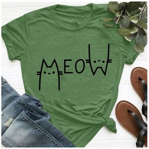 Cute T Shirt Women 100% Cotton Print Meow cat O-neck Casual tshirt Fashion Shirt Short-Sleeve Unisex T-shirt 4 colours 200925