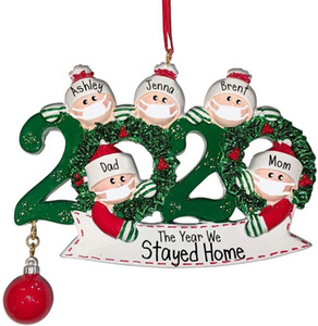 2020 Quarantine Christmas Ornament Christmas Tree pendent Decoration Gift Family Of Ornament with Resin Party Gift In Stock