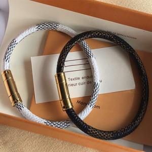 Louis Vuitton 18CM الحب موضةلويس أساور جلدية تبقي لرجل إمرأة المصممين الأزواج V قفل معصمه زهرة أنه نمط سوار المجوهرات