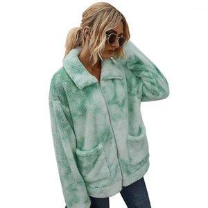 Warm Dye Coats Lapel Neck Autunno Inverno maniche lunghe giacche Famale Outwear allentato Donne peluche Tie