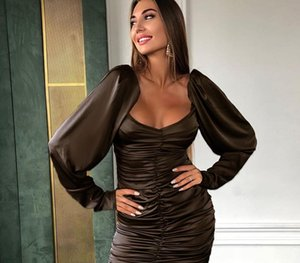 Chicology off shoulder long sleeve elegant lady mini dress 2019 autumn winter office party club casual bodycon sexy44