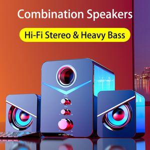 Wired USB Speakers Combinazione basso pesante stereo Hi-Fi Music Player LED Subwoofer cassa di risonanza di Bluetooth altoparlanti per PC