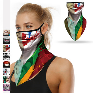 New Halloween clown face shields sunscreen face shield printed mountaineering skiing dust-proof ear silk scarves T3I51159