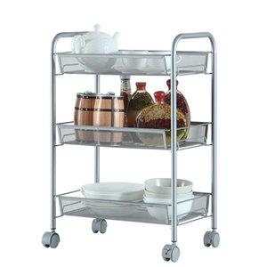 WACO 3-Tier Multifunction Rolling Utility Cart، منظمة تخزين المطبخ، عجلات قابلة للقفل شبكة Honeycomb، سلال معدنية (فضي)