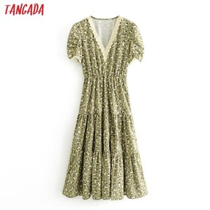 Tangada women green floral lace patchwork dress summer 2020 short Sleeve Ladies tunic midi Dress Vestidos 3H4120924
